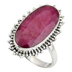 10.24cts natural red ruby 925 sterling silver solitaire ring size 8 r11419