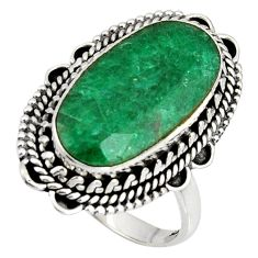 10.37cts natural green emerald 925 silver solitaire ring jewelry size 8 r11428