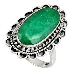 10.37cts natural green emerald 925 silver solitaire ring jewelry size 8.5 r11433