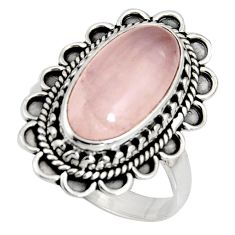 6.83cts natural pink rose quartz 925 silver solitaire ring size 7.5 r11437
