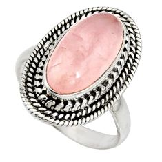 925 silver 7.07cts natural pink rose quartz oval solitaire ring size 8.5 r11440