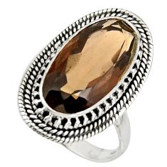 10.33cts brown smoky topaz 925 sterling silver solitaire ring size 9 r11441