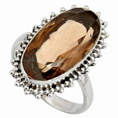 10.24cts brown smoky topaz 925 sterling silver solitaire ring size 8.5 r11445