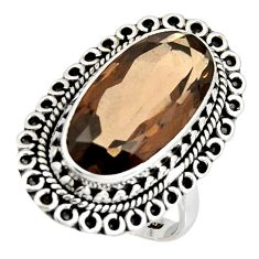 11.22cts brown smoky topaz 925 sterling silver solitaire ring size 7.5 r11447