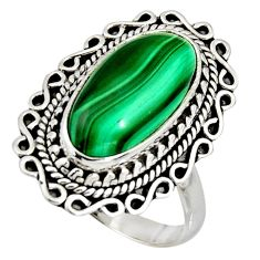 8.93cts natural green malachite 925 silver solitaire ring size 9 r11455