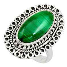 925 silver 8.65cts natural green malachite oval solitaire ring size 8 r11459