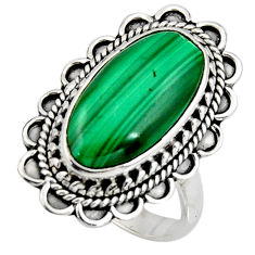 9.03cts natural green malachite 925 silver solitaire ring size 7.5 r11460