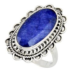 10.04cts natural blue sapphire 925 silver solitaire ring jewelry size 9 r11463