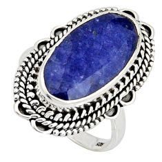 10.04cts natural blue sapphire 925 silver solitaire ring jewelry size 9 r11467