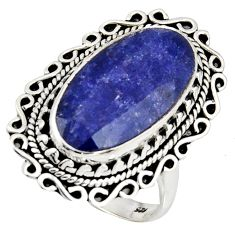 10.54cts natural blue sapphire 925 silver solitaire ring jewelry size 8 r11469