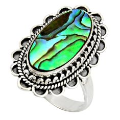6.58cts natural abalone paua seashell 925 silver solitaire ring size 8.5 r11470