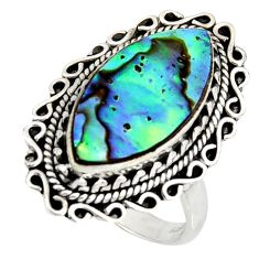 8.14cts natural green abalone paua seashell silver solitaire ring size 8 r11471
