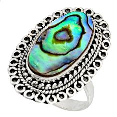 925 silver 8.70cts natural abalone paua seashell solitaire ring size 8.5 r11473