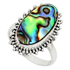 7.17cts natural green abalone paua seashell silver solitaire ring size 7 r11474