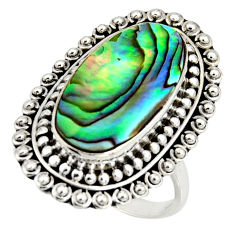 925 silver 9.23cts natural abalone paua seashell solitaire ring size 8.5 r11477