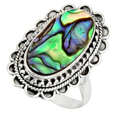 8.42cts natural abalone paua seashell 925 silver solitaire ring size 9 r11478