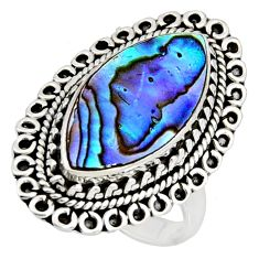 8.14cts natural green abalone paua seashell silver solitaire ring size 7 r11479