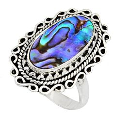 925 silver 7.40cts natural abalone paua seashell solitaire ring size 8.5 r11480