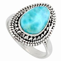 4.52cts natural blue larimar 925 silver solitaire ring jewelry size 8.5 r11501