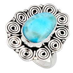 5.75cts natural blue larimar 925 silver solitaire ring jewelry size 7 r11502