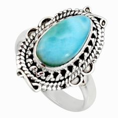 4.53cts natural blue larimar 925 silver solitaire ring jewelry size 8 r11503