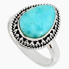 925 silver 5.16cts natural blue larimar solitaire ring jewelry size 8 r11504