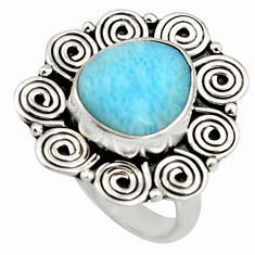 5.21cts natural blue larimar 925 silver solitaire ring jewelry size 7 r11505