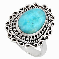 5.07cts natural blue larimar 925 silver solitaire ring jewelry size 8 r11506