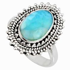 4.73cts natural blue larimar 925 silver solitaire ring jewelry size 9 r11508
