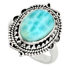925 silver 5.13cts natural blue larimar solitaire ring jewelry size 8 r11509