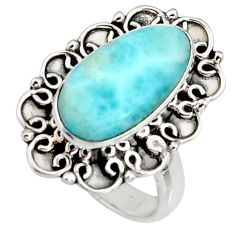 5.53cts natural blue larimar 925 silver solitaire ring jewelry size 7.5 r11510