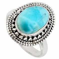 5.11cts natural blue larimar 925 silver solitaire ring jewelry size 8.5 r11511