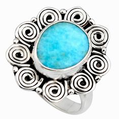 5.28cts natural blue larimar 925 silver solitaire ring jewelry size 8.5 r11512