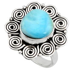 4.93cts natural blue larimar 925 silver solitaire ring jewelry size 8.5 r11514