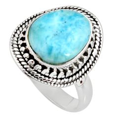 5.28cts natural blue larimar 925 silver solitaire ring jewelry size 8 r11515