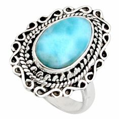5.28cts natural blue larimar 925 silver solitaire ring jewelry size 7.5 r11516