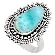 925 silver 5.97cts natural blue larimar solitaire ring jewelry size 8 r11517
