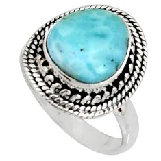 5.09cts natural blue larimar 925 silver solitaire ring jewelry size 9 r11520