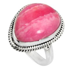 10.02cts natural rhodochrosite inca rose silver solitaire ring size 7.5 r11524