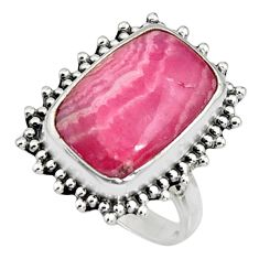 925 silver 8.96cts natural rhodochrosite inca rose solitaire ring size 8 r11525