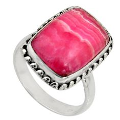 8.83cts natural rhodochrosite inca rose 925 silver solitaire ring size 8 r11527
