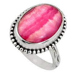 10.01cts natural rhodochrosite inca rose silver solitaire ring size 7.5 r11529