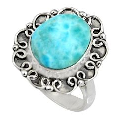 5.16cts natural blue larimar 925 silver solitaire ring jewelry size 7 r11534