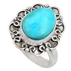 925 silver 4.93cts natural blue larimar solitaire ring jewelry size 7.5 r11535