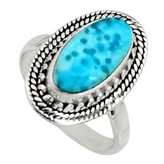 4.38cts natural blue larimar 925 silver solitaire ring jewelry size 8.5 r11536