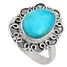 4.66cts natural blue larimar 925 silver solitaire ring jewelry size 7 r11537