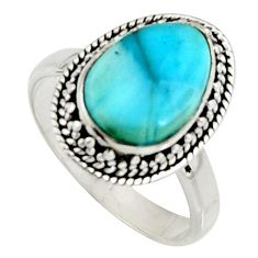 5.16cts natural blue larimar 925 silver solitaire ring jewelry size 8 r11538