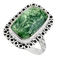 7.67cts natural green seraphinite 925 silver solitaire ring size 8 r11541