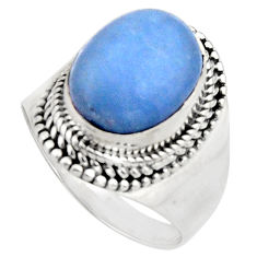 5.35cts natural blue owyhee opal 925 silver solitaire ring jewelry size 9 r11545