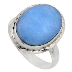 925 silver 9.56cts natural blue owyhee opal oval solitaire ring size 7.5 r11546